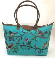 "Handwoven Embroidered Turquoise Santiago Satchel  Guatemala (13"" x 24"")"
