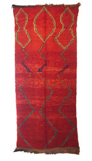 Hand Knotted Azilal Red Rug Morocco (53 x 114)