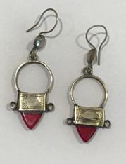 "Vintage Morocco Earrings Silver (1.75"" drop x .75"" wide)"