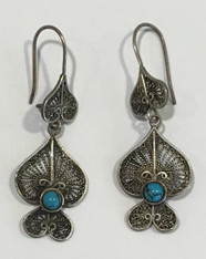 "Vintage Morocco Filagree Silver Earrings  (1.75"" drop x .75"" wide)"