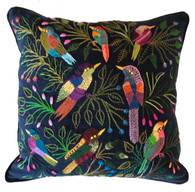 "Handwoven and Hand Embroidered Bird Pillow Guatemala (15"" x 15"")"
