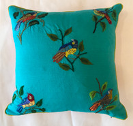 "Handwoven and Hand Embroidered Bird on Turquoise Pillow Guatemala (15"" x 15"")"