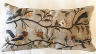 "Linen Embroidered Bird Pillow Guatemala (11"" x  22"")"