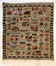 """Handwoven and Hand Knotted Pile Wool Rug Morocco (40"""" x 45"""")"""