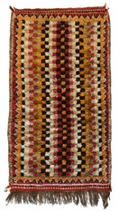 """Hand Knotted Pile Checkerboard Rug Wool Morocco (26"""" x 46"""")"""