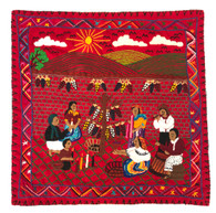 Hand Stitched Story Cloth Red Cotton Guatemala (18.5 x 18.5)
