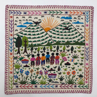 Hand Stitched Story Cloth Cotton 2 Guatemala (18.5 x 18.5)
