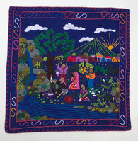Hand Stitched Story Cloth Cotton Blue Guatemala (18.5 x 18.5)