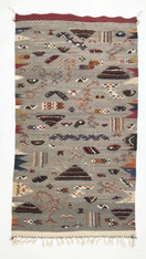 Handwoven Flat Weave and Pile Wool Rug Morocco (26 x 46)