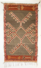 "Handwoven Glaoui  Small Wool Flat Weave with Pile a Tribal Berber Rug Morocco (36"" x 64"")"