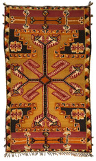 "Handwoven Glaoui  Small Wool Flat Weave with Pile a Tribal Berber Rug Morocco (38"" x 65"")"