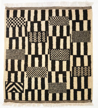 "Handwoven Natural Wool Pile Black and White Berber Rug Morocco (36"" x 40"")"