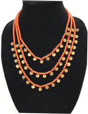 Brass and Bead Three Strand Necklace India