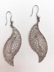 """Silver knitted Earrings Peru (2"""" L x .75"""" w)"""