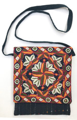 "Hand Stitched Embroidered Mirror Work Cotton Shoulder Bag India   (9""W x 10""H)"