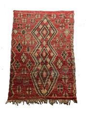 "Vintage Handwoven Bujad Pile and Flat Weave Wool Tribal Berber Rug Morocco (53"" x 96"")"