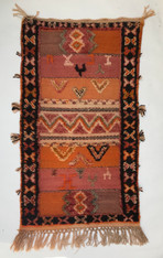"Handwoven Glaoui  Small Wool Flat Weave with Pile a Tribal Berber Rug Morocco (23"" x 42"")"