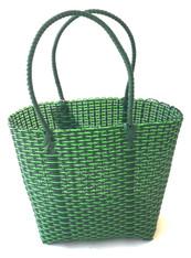 "Handmade Woven Plastic Green Shoulder  Satchel Guatemala  (10""w x 11""h)"