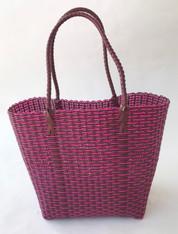 "Handmade Woven Plastic Shoulder Satchel Rose Guatemala (10""w x 11""h)"