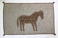 "Handmade Felt Wool Horse Rug on Natural Afghanistan (30"" x 48"")"