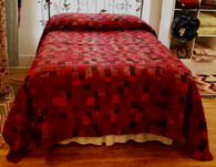 "Handstitched Patchwork Reds Silk Queen Quilt India (91"" x 106"")"