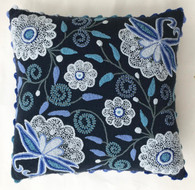 "Peru Woolen Hand Woven and Embroidered Blues Pillow (17"" x 17"")"
