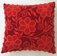 "Peru Woolen Hand Woven and Embroidered Reds Pillow (17"" x 17"")"