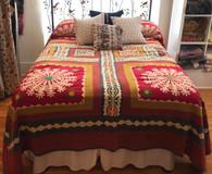 "Handmade Applique Quilt Queen India  (90"" x 105"")"