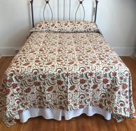 "Handmade Silk Screened Cotton Quilt Floral Queen (90""w  x 96"")"