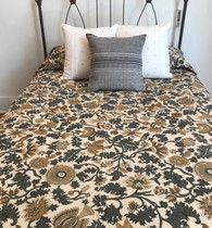 "Handmade Silk Screened Cotton Quilt Floral Grey Queen (90""w  x 96"")"