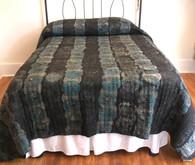 "Handmade Block Printed Natural  Dyed Quilt Circles King India  (105"" x 105"")"