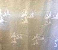 "Linen Hand Screen Printed Cranes India (50"" wide)"