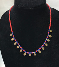 "Brass and Glass Bead Necklace India ( 9"" drop)"