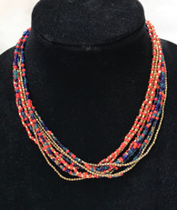 "Handmade Glass and Brass Bead Necklace India ( 8"" drop)"