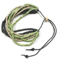 Handmade Ceramic Beaded Bracelet  Green and Natural Guatemala