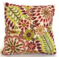 "Peru Woolen Hand Woven and Embroidered Bright Pillow (18"" x 18"")"