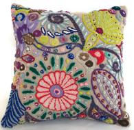 "Peru Woolen Hand Woven and Embroidered B Pillow (17"" x 17"")"