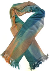 "Handwoven Bamboo Scarf Teal Terracotta Guatemala (8"" x 68"")"