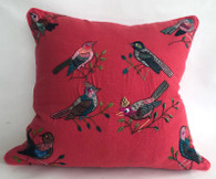 "Handwoven and Hand Embroidered Bird Pillow  Rose  Guatemala (18"" x 18"")"