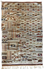 "Handwoven Akhnif Flat Weave and Pile Grey Wool Rug Morocco (46"" x 73"")"