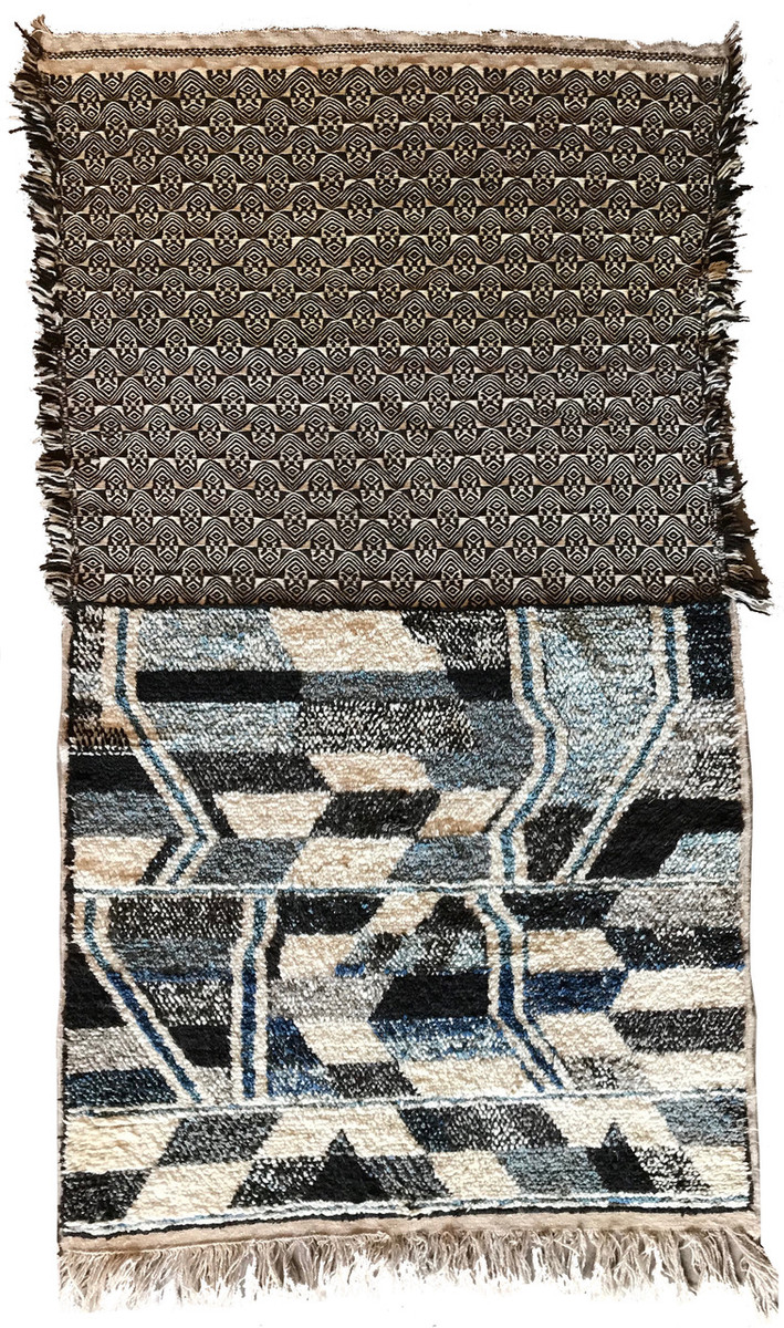 Handwoven Contemporary Flat Weave And Pile Wool Rug Morocco 45 X 89