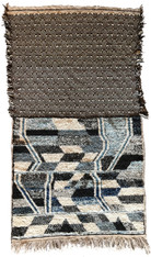 "Handwoven Contemporary Flat Weave and Pile Wool Rug Morocco (45"" x 89"")"