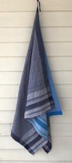 "Handmade Stitched Cotton Traditional Gamcha Towel Blue India (35"" x 64"")"