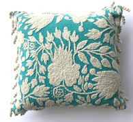 "Peru Woolen Hand Woven and Embroidered Pillow Turquoise (17"" x 17"")"