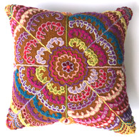 "Peru Woolen Hand Woven and Embroidered Pillow 3 (17"" x 17"")"