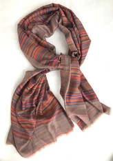 "Wool Fine Woven Reversible Scarf or Shawl India (29"" x 86"")"