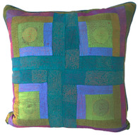 "Hand Quilted Neutral Silk Pillow India (15"" x 15"")"