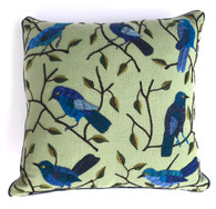 "Handwoven and Hand Embroidered Bird Pillow Sage Guatemala (16"" x 16"")"