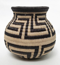 "Handmade Natural Fiber Wounaan Basket  Panama  (3"" wide x  3"" tall)"