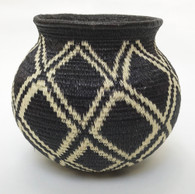 "Handmade Natural Fiber Wounaan Basket  4 Panama  (3.75"" wide x  3.5"" tall)"